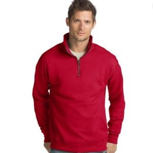 Hanes Red Quarter Zip Pullover Large